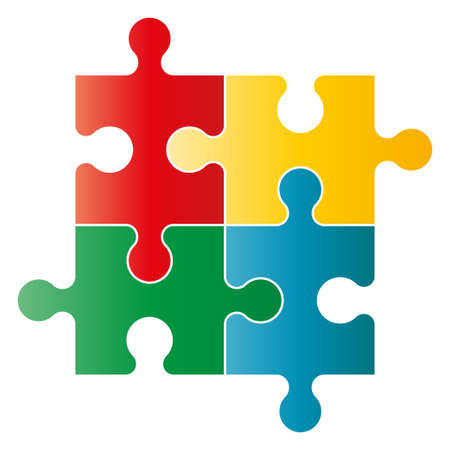 Puzzle vector illustration. Four piece puzzle on white background