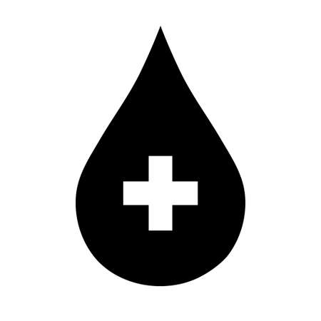 Black donate drop blood sign with cross