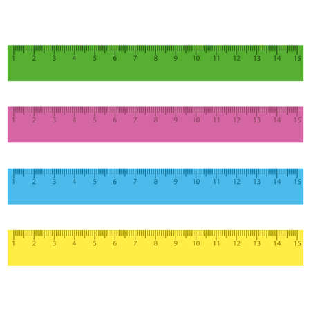 Rulers in centimeters and millimeters on white background Ilustração