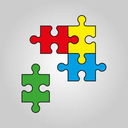 Puzzle icon vector illustration. Four piece puzzle