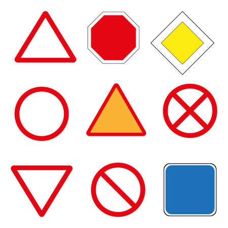 Road signs vector icon on white background