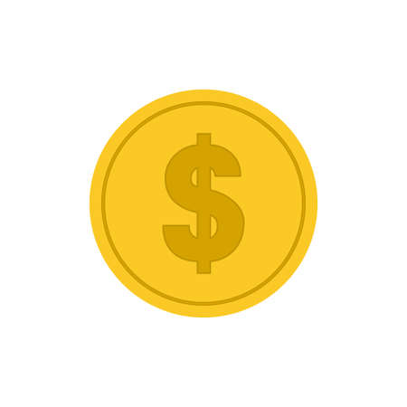 Gold dollar sign icon isolated on white background. Vector illustration