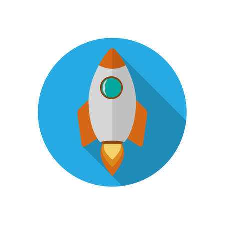 Vector rocket start up icon. Rocket flat design illustration