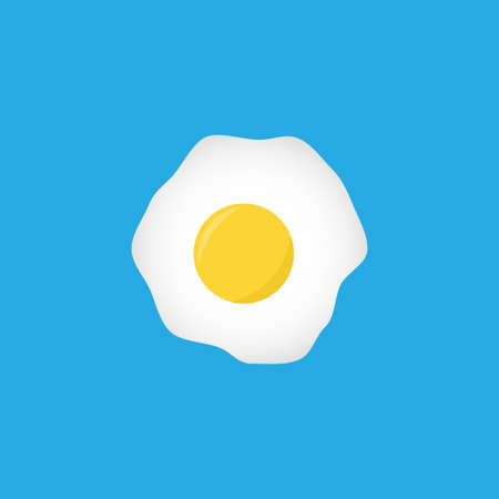 Fried eggs vector flat icon on blue background Иллюстрация