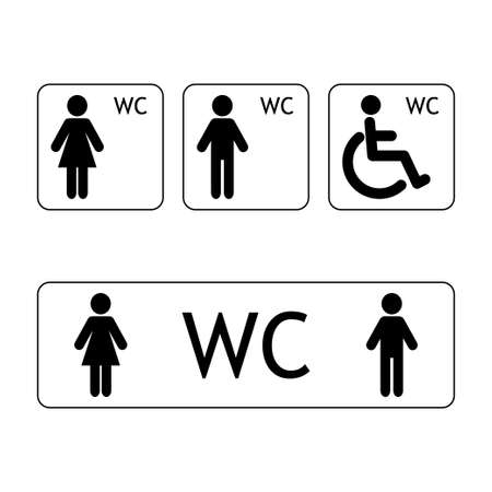 WC sign for restroom. WC toilet sign vector
