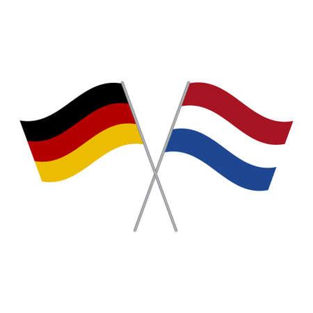 Niederlande und Deutschland Flaggen Vektor isoliert auf weißem Hintergrund Vektorgrafik