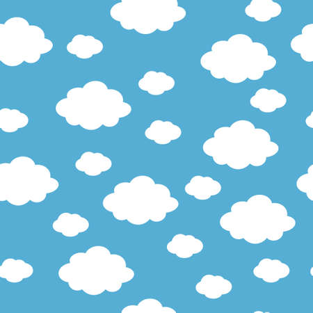 Blue sky with clouds, seamless background. Vector illustration