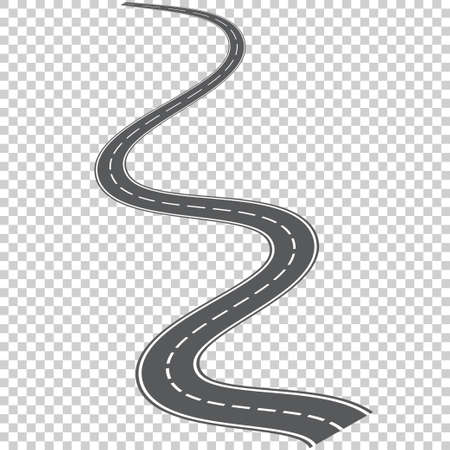 Vector curved road with white markings. Vector illustration