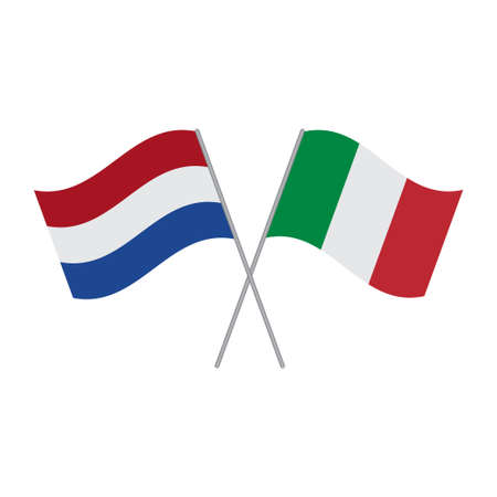Netherlands and Italy flags vector isolated on white background
