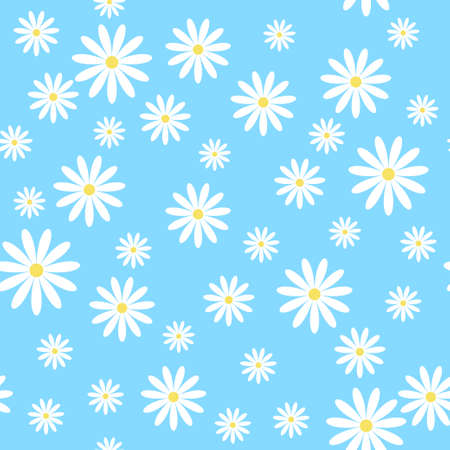 Vector seamless pattern with chamomiles on blue background