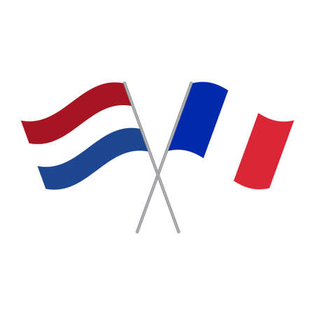 Netherlands and France flags vector isolated on white background