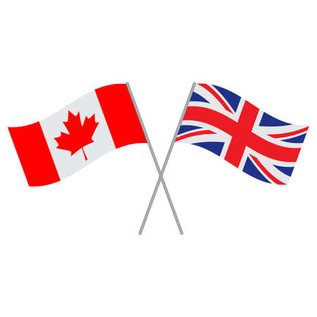 British and Canadian flags vector isolated on white background