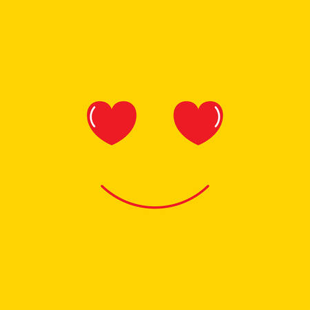 Love emoji vector. Emoji with hearts. Vector isolated yellow smiley