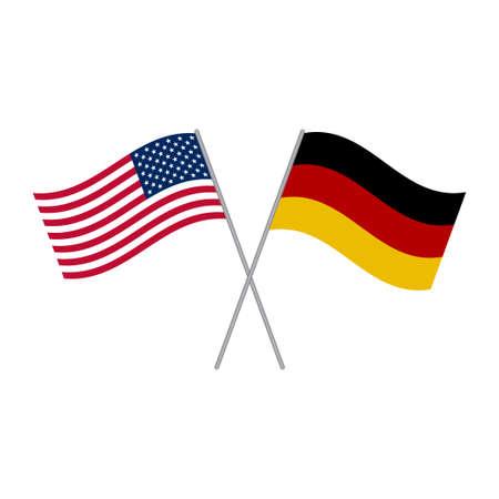 Vettore di bandiere americane e tedesche isolato su sfondo bianco
