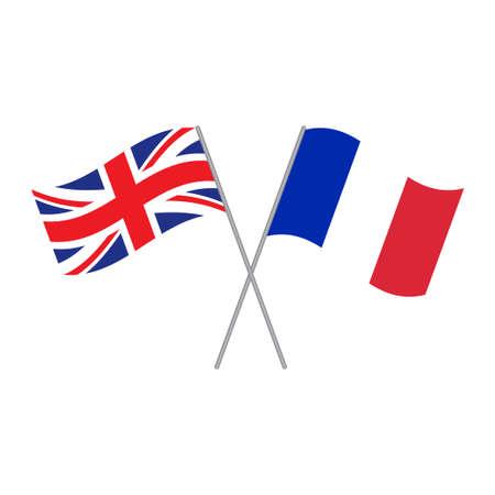 Britischer und französischer Flaggenvektor lokalisiert auf weißem Hintergrund