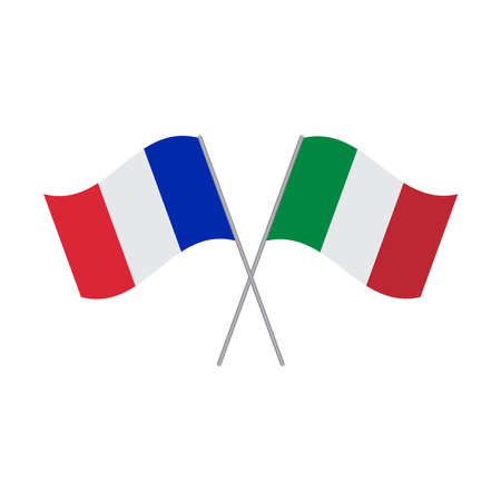 France and Italy flags vector isolated on white background