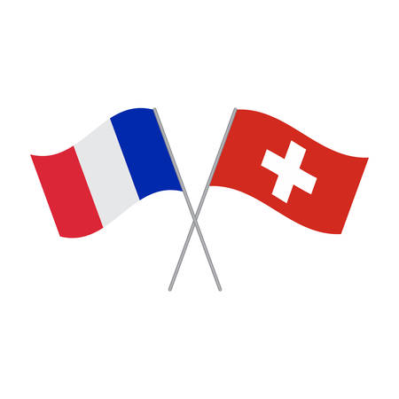 France and Switzerland flags vector isolated on white background