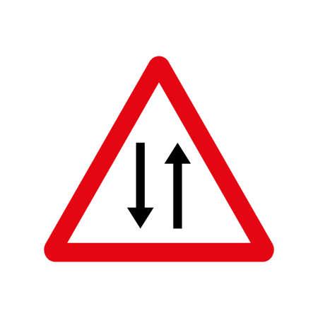 Vector road sign two way traffic. Vector illustration Illustration