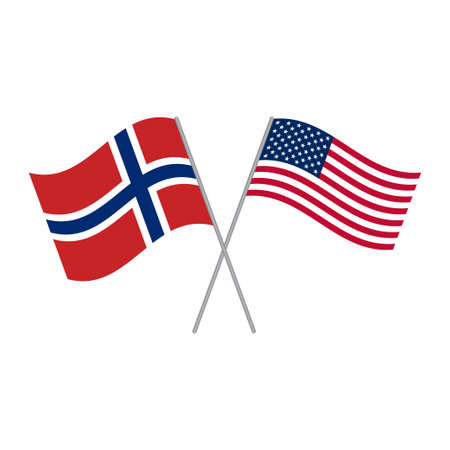 American and Norwegian flags vector isolated on white background Vettoriali