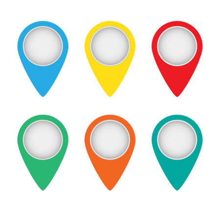 Vector set of map pointers on white background