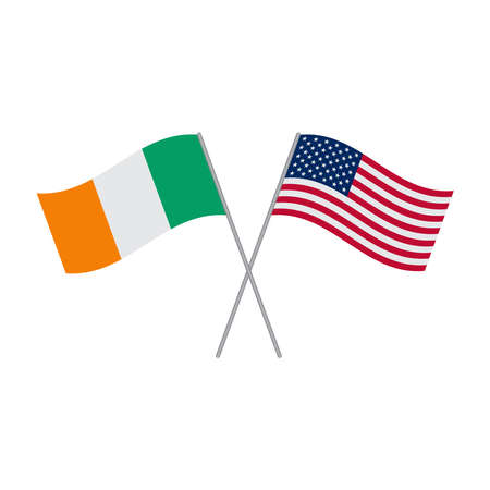 American and Irish flags vector isolated on white background Illustration