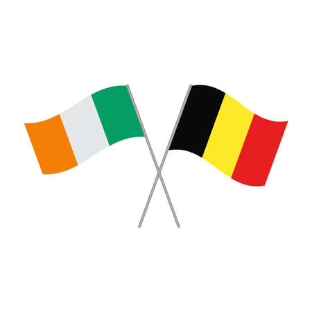 Belgian and Irish flags vector isolated on white background
