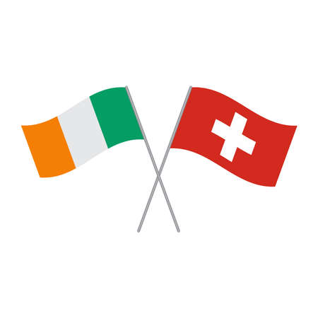 Swiss and Irish flags vector isolated on white background