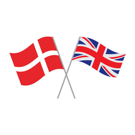 British and Danish flags vector isolated on white background Illustration