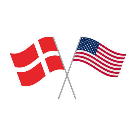 American and Danish flags vector isolated on white background Vector Illustration
