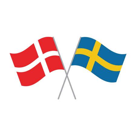 Wektor flagi duńskiej i szwedzkiej na białym tle