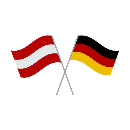 Austrian and German flags vector isolated on white background
