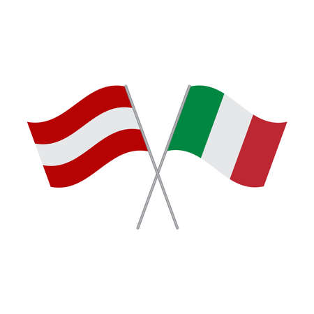 Austrian and Italian flags vector isolated on white background