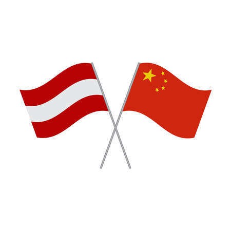 Austrian and Chinese flags vector isolated on white background