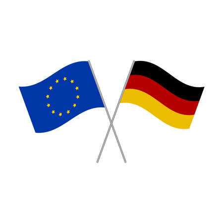 German and European Union flags vector isolated on white background