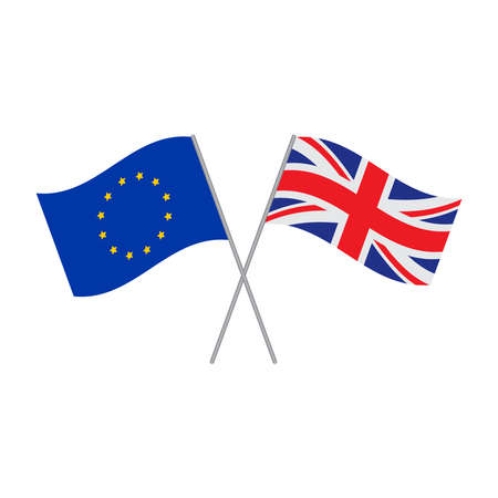 European Union and British flags vector isolated on white background