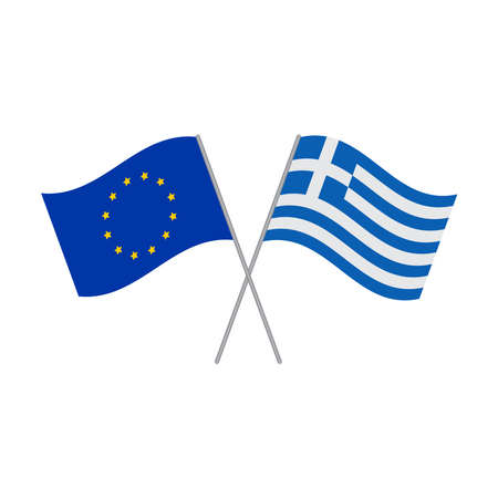 European Union and Greek flags vector isolated on white background