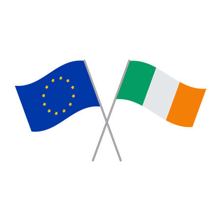 European Union and Irish flags vector isolated on white background Stock Illustratie