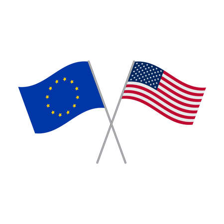 European Union and American flags vector isolated on white background Ilustração