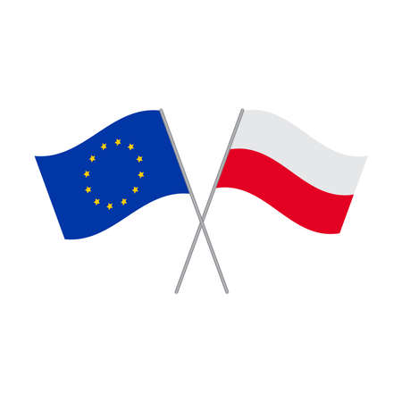 European Union and Polish flags vector isolated on white background