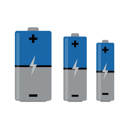 Battery set vector icon isolated on white background