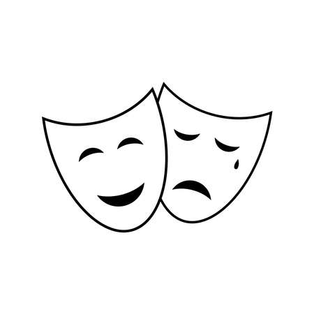 Theatre mask vector icon isolated on white background