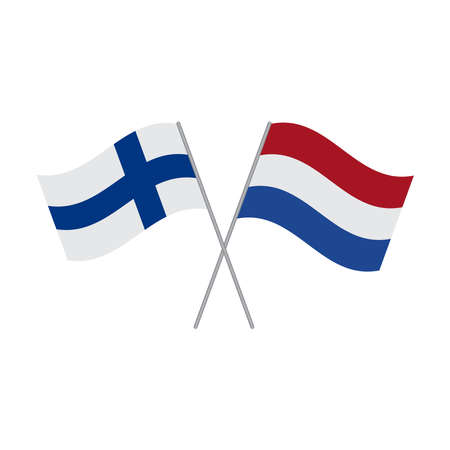 Netherlands and Finland flags vector isolated on white background Çizim