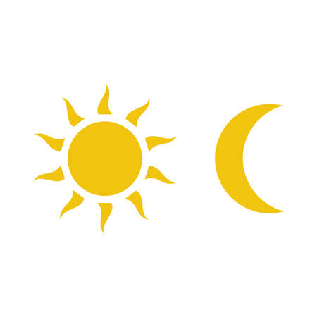 Moon and sun icon vector isolated on white background