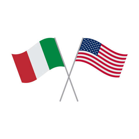 Italian and American flags vector isolated on white background Vetores