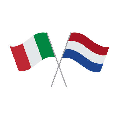 Italy and Netherlands flags vector isolated on white background