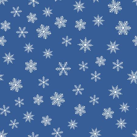 Modèle sans couture avec des flocons de neige sur fond bleu