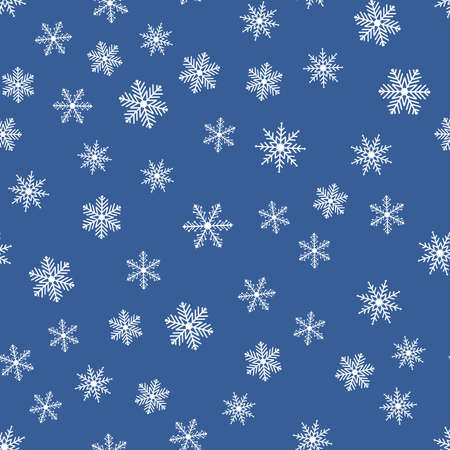Seamless pattern with snowflakes on a blue background