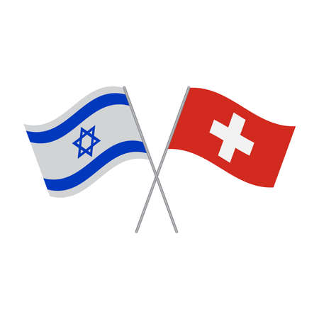 Israel and Switzerland flags vector icon isolated on white background