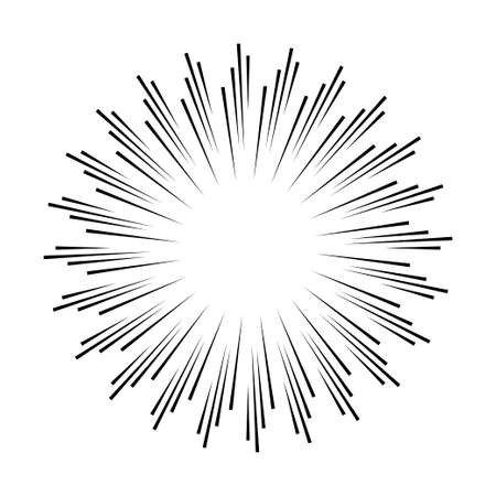 Sun rays hand drawn, linear drawing on white background