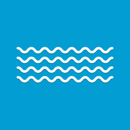 Wave icon vector on blue background.